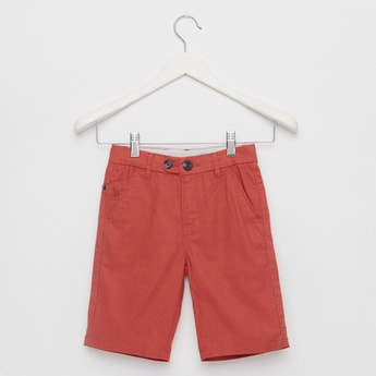 Solid Shorts with Pocket Detail and Button Closure