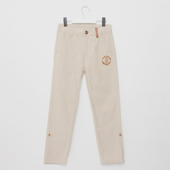 Embroidered Detail Trousers with Pocket Detail and Belt Loops