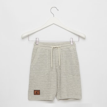 Striped Knee-Length Shorts with Drawstring Closure and Pockets