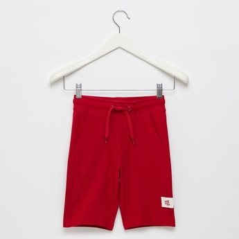 Textured Pique Knee-Length Shorts with Drawstring Closure