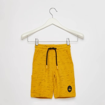 Textured Shorts with Drawstring and Pocket Detail
