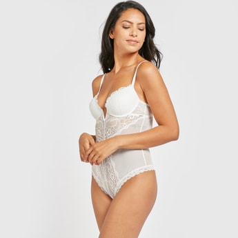 Lace Padded Demi Bodysuit with Hook and Eye Closure