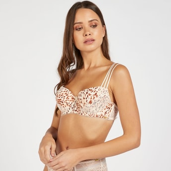 Animal Print Padded Wired Demi Bra