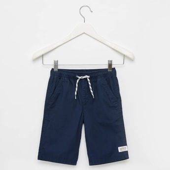 Solid Shorts with Elasticated Drawstring Waistband and Pockets