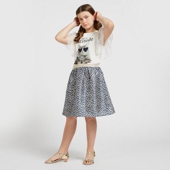 Animal Print Round Neck Top and Knee Length Skirt Set