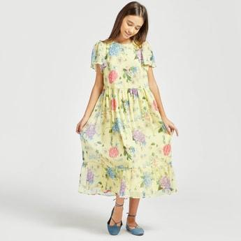 فستان ميدي بأكمام قصيرة وطبعات زهرية