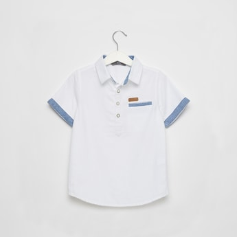 Textured Shirt with Short Sleeves