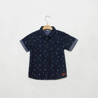 Printed Shirt with Collar and Short Sleeves