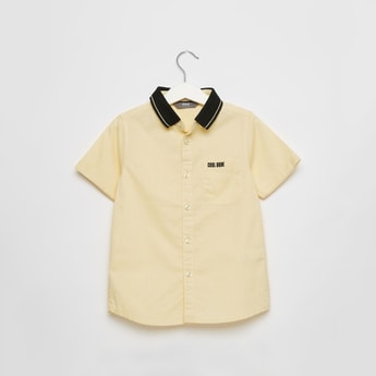 Oxford Shirt with Short Sleeves and Patch Pocket