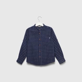 Checked Shirt with Mandarin Collar and Long Sleeves