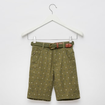 Printed Jacquard Shorts with Belt and Pockets