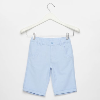 Yarn Dyed Solid Shorts with Elasticated Drawstring Waist and Pockets