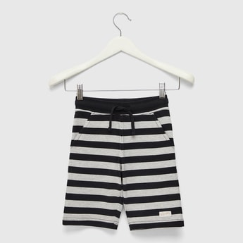 Yarn Dyed Striped Shorts with Elasticated Drawstring Waist and Pockets