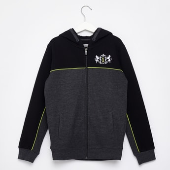 Embroidered Logo Colourblocked Hoodie with Long Sleeves