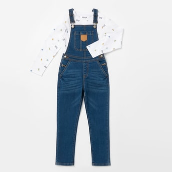All-Over Print Long Sleeves T-shirt with Denim Dungarees