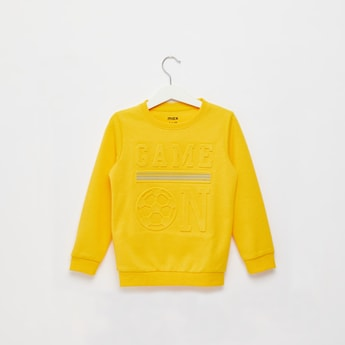 Embossed Print Sweatshirt with Round Neck and Long Sleeves