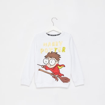 Harry Potter Print Sweatshirt with Round Neck and Long Sleeves