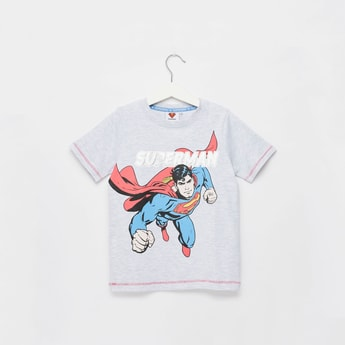 Superman Foil Print T-shirt with Round Neck and Short Sleeves