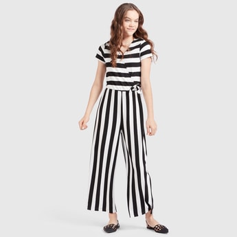 Striped Jumpsuit with V-neck and Cap Sleeves