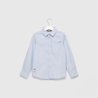 Printed Shirt with Long Sleeves and Concealed Pocket