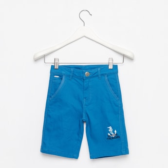 Anchor Print Knee-Length Shorts with Button Closure and Pockets