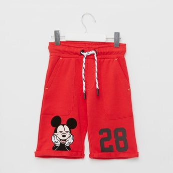 Mickey Mouse Graphic Print Shorts with Pockets and Drawstring Closure