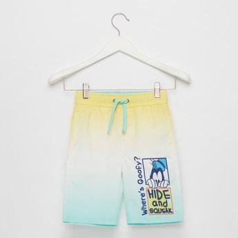 شورت سباحة مصبوغ بألوان متدرجة وطبعات مع خصر مطاطي