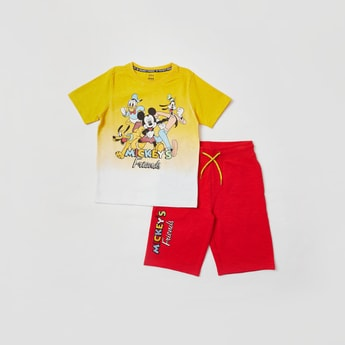 Set of 2 - Mickey Mouse Print Ombre T-shirt and Shorts