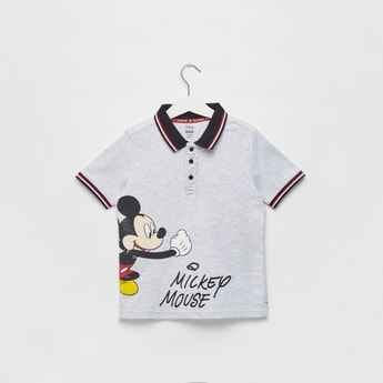 Mickey Mouse Print Polo T-shirt with Short Sleeves and Button Closure