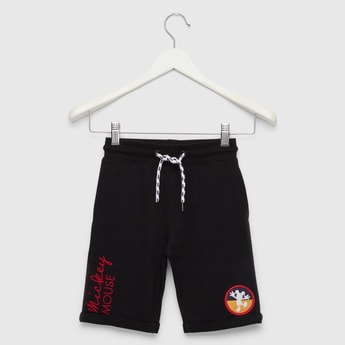 Mickey Mouse Embroidered Knit Shorts with Drawstring Closure