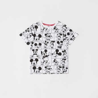 Mickey Mouse Print Round Neck T-shirt with Short Sleeves