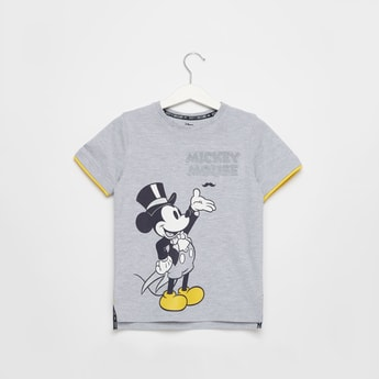 Mickey Mouse Graphic Print T-shirt with Round Neck and Short Sleeves