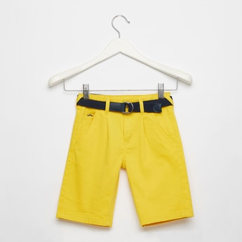 Solid Knee Length Shorts with Belt