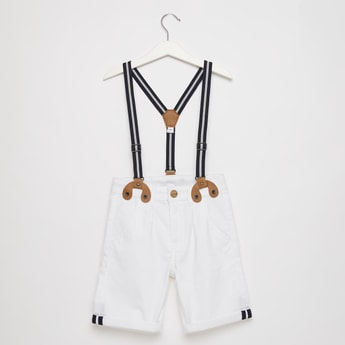 Solid Shorts with Suspenders and Button Closure