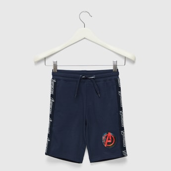 Avengers Printed Shorts with Elasticated Drawstring Waist