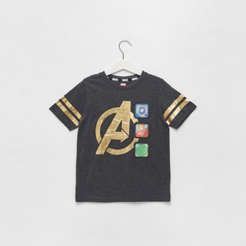 Avengers Foil Print T-shirt with Round Neck and Short Sleeves