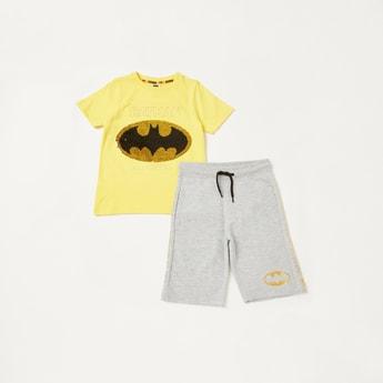 Batman Sequin Detail T-shirt with Foil Print Shorts Set