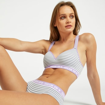 Striped Bra with Racerback and Text Print Elasticised Hem
