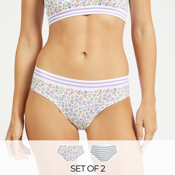 Pack of 2 - Printed Bikini Briefs with Elasticised Waist
