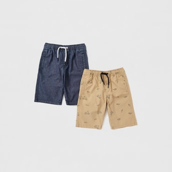 Set of 2 - Assorted Knee Length Shorts with Drawstring Closure