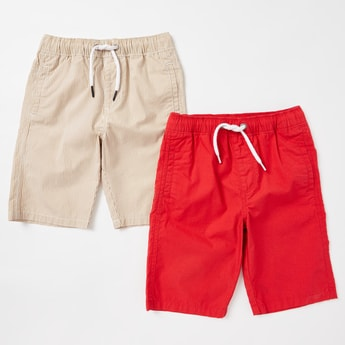 Set of 2 - Solid Shorts with Drawstring Closure