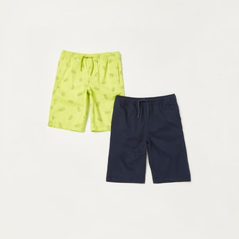 Set of 2 - Pocket Detail Shorts with Drawstring Closure