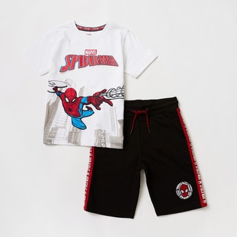 Spider-Man Graphic Print T-shirt with Side Tape Detail Shorts Set