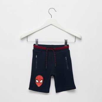 Spider-Man Print Shorts with Pockets and Drawstring