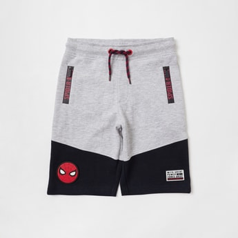 Spider-Man Print Cut and Sew Shorts with Pockets and Drawstring