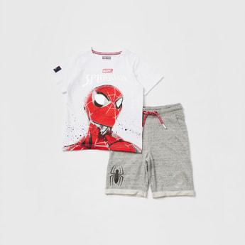 Spider-Man Graphic Print T-shirt and Knit Shorts Set