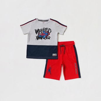 Spider-Man Embroidered Detail Short Sleeves T-shirt with Shorts Set