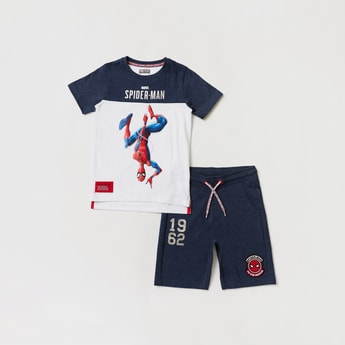 Spider-Man Graphic Print Short Sleeves T-shirt with Shorts Set