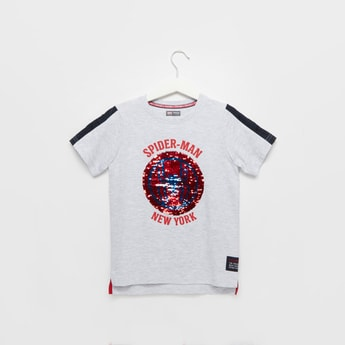 Spider-Man Sequin Detail T-shirt with Round Neck and Short Sleeves