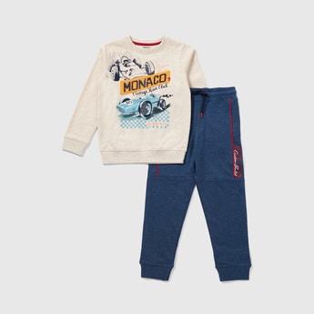 Printed Long Sleeves Sweatshirt and Full Length Jogger Set